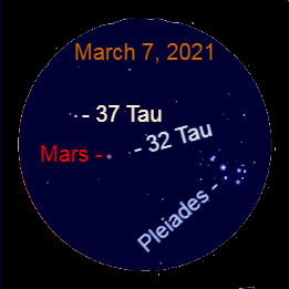 2021, March 7: With a binocular spot the starfield near Mars. It includes the Pleiades star cluster and the dim stars 32 Tauri (32 Tau) and 37 Tauri (37 Tau).
