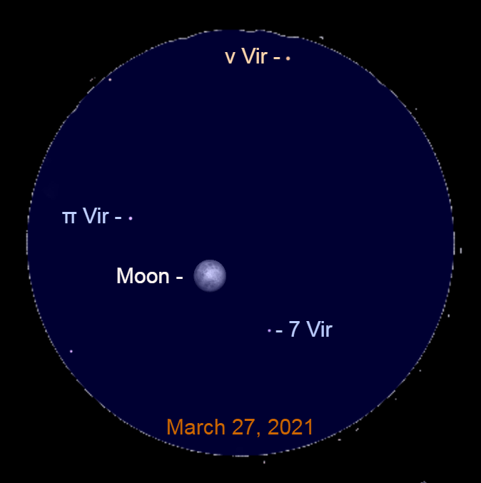 2021, March 27: This binocular view shows the bright moon to the lower left of Nu Virginis (ν Vir).