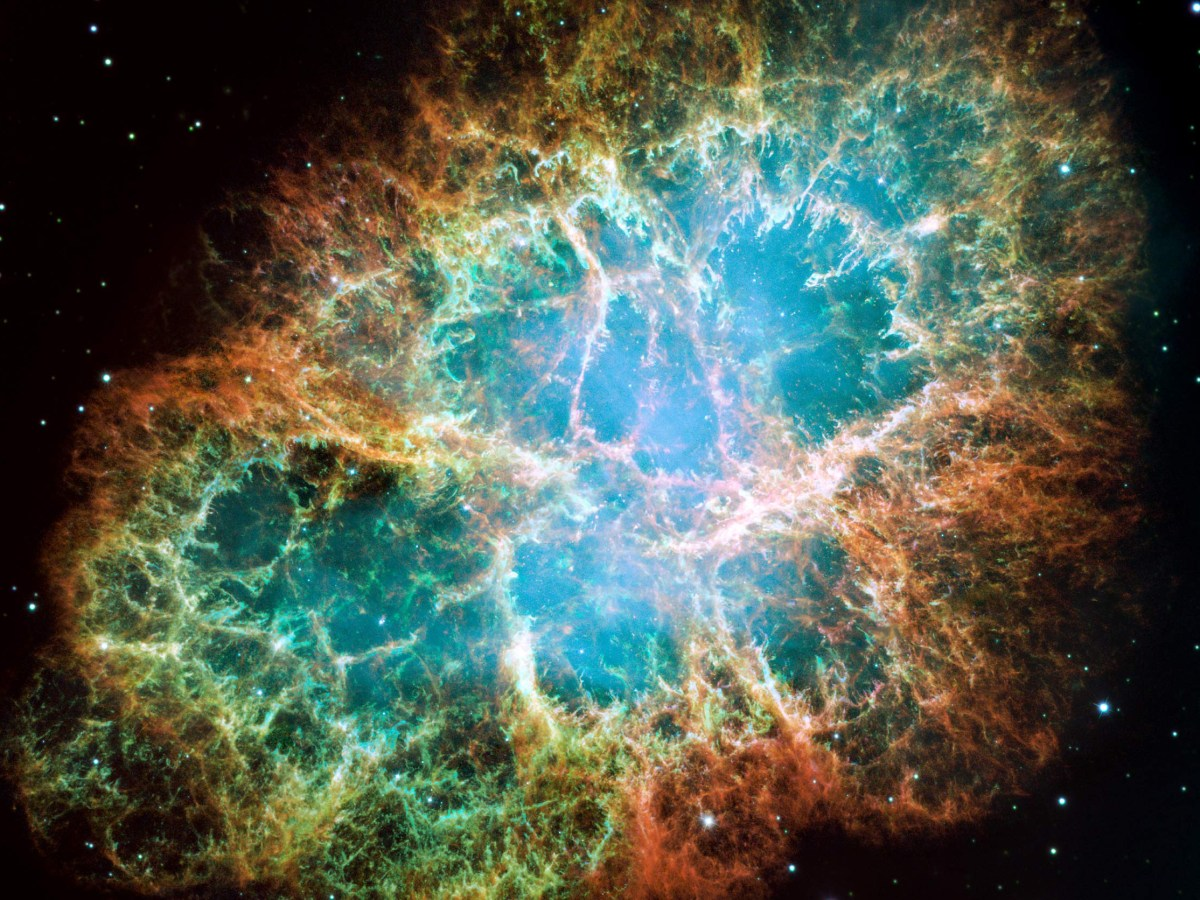 This view of the Crab Nebula in visible light comes from the Hubble Space Telescope and spans 12 light-years. The supernova remnant, located 6,500 light-years away in the constellation Taurus, is among the best-studied objects in the sky. Credits: NASA/ESA/ASU/J. Hester