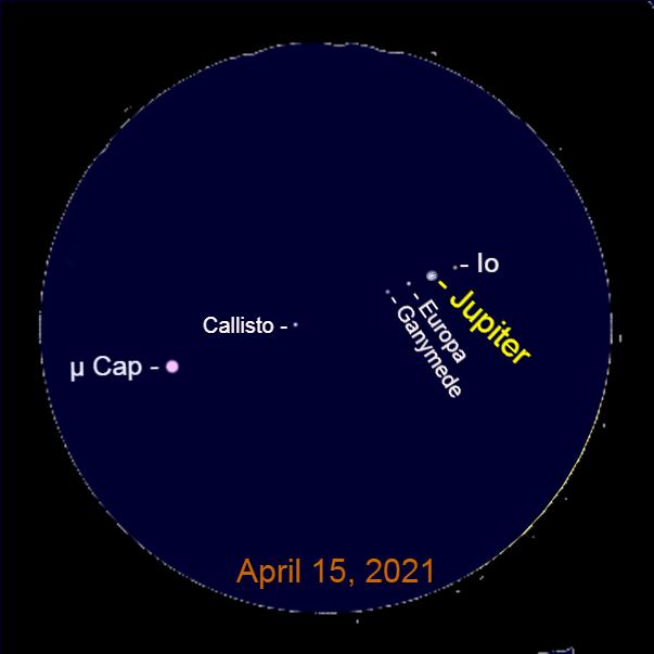 2021, April 15: A telescopic view of Jupiter, its moons, and the star Mu Capricorni (μ Cap).