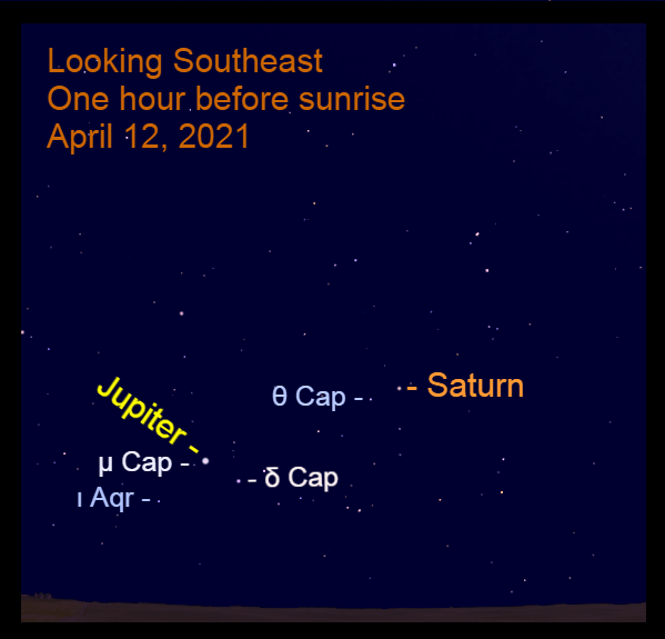 2021, April 12: Morning planets Jupiter and Saturn are in the southeast before sunrise.