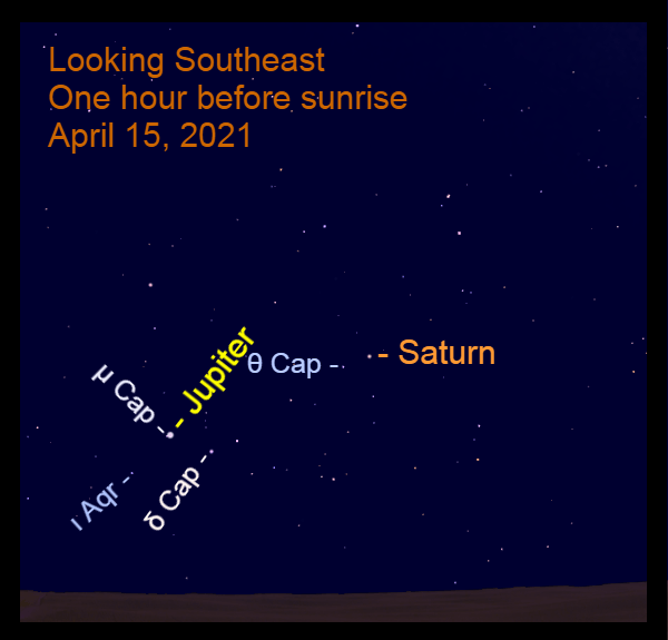 2021, April 15: Jupiter and Saturn are in the southeast before sunrise. The planets are in front of Capricornus.
