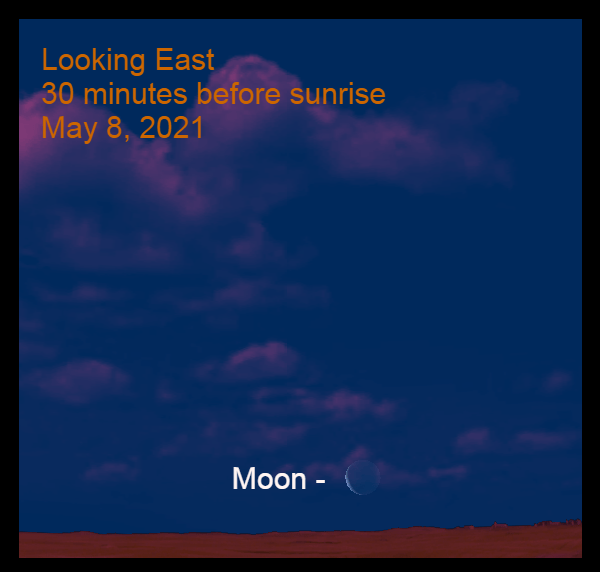 2021, May 8: Thirty minutes before sunrise, the razor-thin moon is above the eastern horizon.