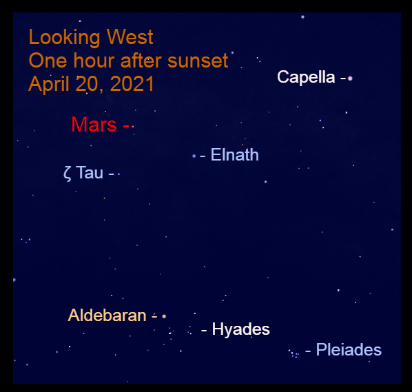 2021, April 20: The moon is above the horns of Taurus, Elnath and Zeta Tauri (ζ Tau).