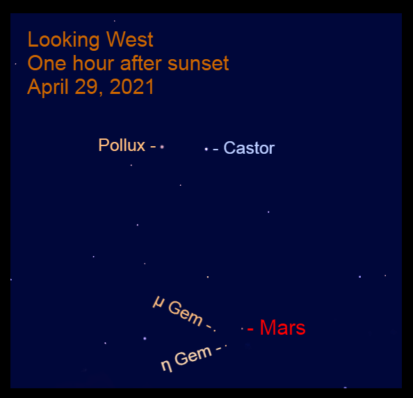 2021, April 29: One hour after sunset, Mars is in the west at the feet of Gemini.