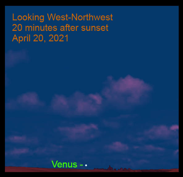 2021, April 20: Venus is very low in the west-northwest about 20 minutes after sunset.