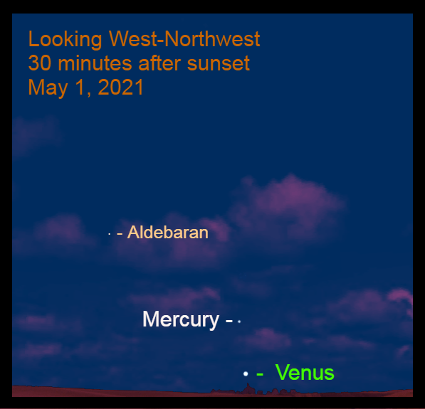 2021, May 1: Thirty minutes after sunset, Venus and Mercury are in the west-northwest. Mercury is 5.2° above brilliant Venus.