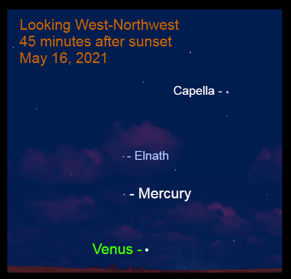 May 16: Mercury is 8.7° to the upper left of brilliant Venus and 5.4° below Elnath, the Northern Horn of Taurus. Mercury's brightness is fading each evening. It is bright enough to locate without a binocular.