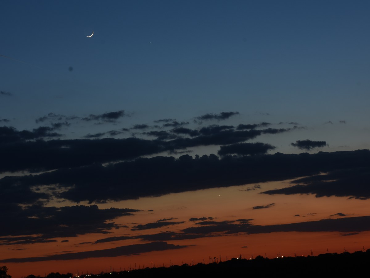 2021, May 13: Brilliant Venus, Mercury, and the crescent moon in the evening sky.