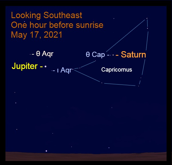 2021, May 17: Morning planets, Jupiter and Saturn, are in the southeast before sunrise.