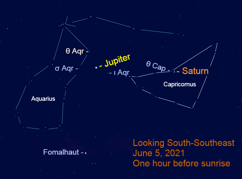 2021, June 5: Jupiter and Saturn are the bright stars in the southern sky before sunrise during early June. Use a binocular to note Jupiter's place in front of Aquarius and Saturn's spot in Aquarius.