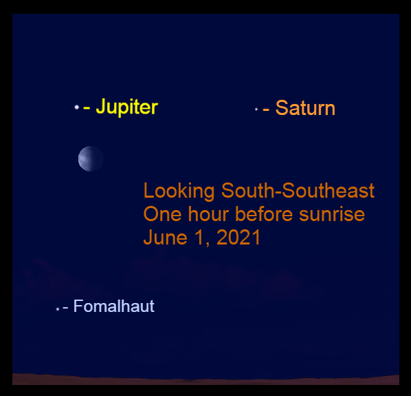 2021, June 1: The moon is to the lower right of bright Jupiter before sunrise.