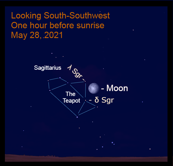 2021, May 28: One hour before sunrise, the bright moon is 2.7° to the lower right of Kaus Borealis (λ Sgr) and 3.5° to the upper right of Kaus Media (δ Sgr). Use a binocular to locate the stars of Sagittarius.