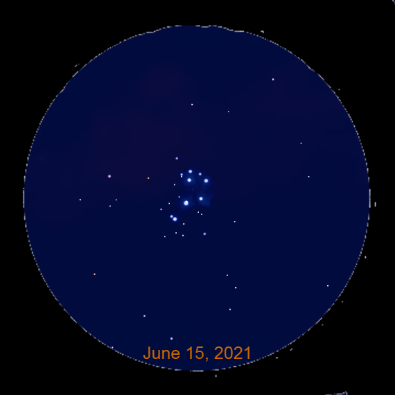 2021, June 15: With a binocular look for the Pleiades star cluster in the east-northeast about one hour before sunrise.