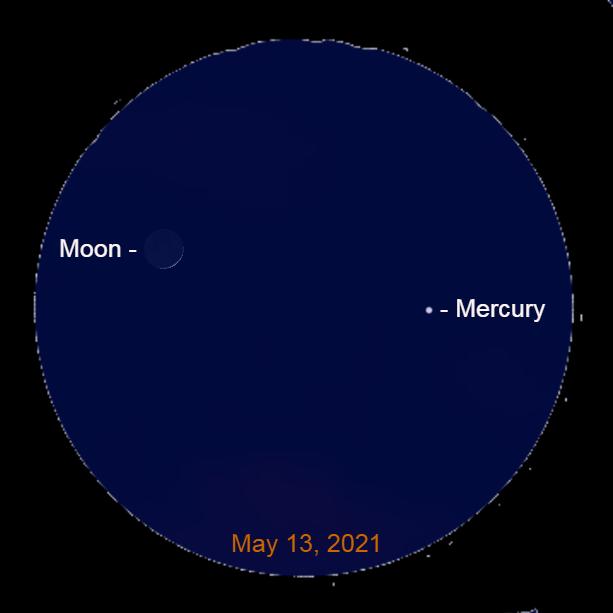 2021, May 13: Through a binocular, locate the crescent moon and Mercury.