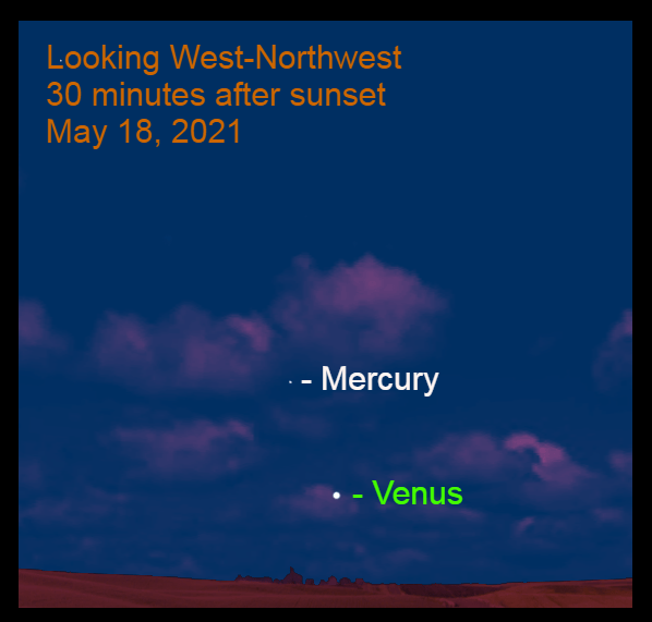 2021, May 18: Thirty minutes after sunset, brilliant Venus is low in the west-northwest. Mercury is 8.0° to the upper left of Venus.