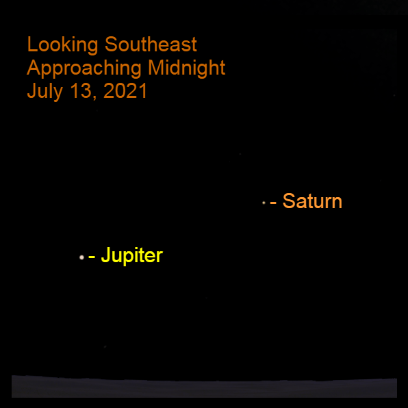 2021, July 13: As the calendar day ends, Jupiter and Saturn are in the southeastern sky.