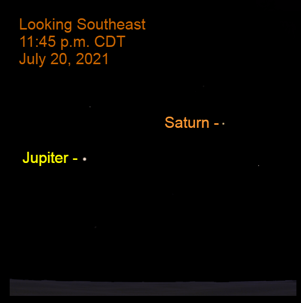 2021, July 20: As the calendar day ends, Jupiter and Saturn are in the southeastern sky.