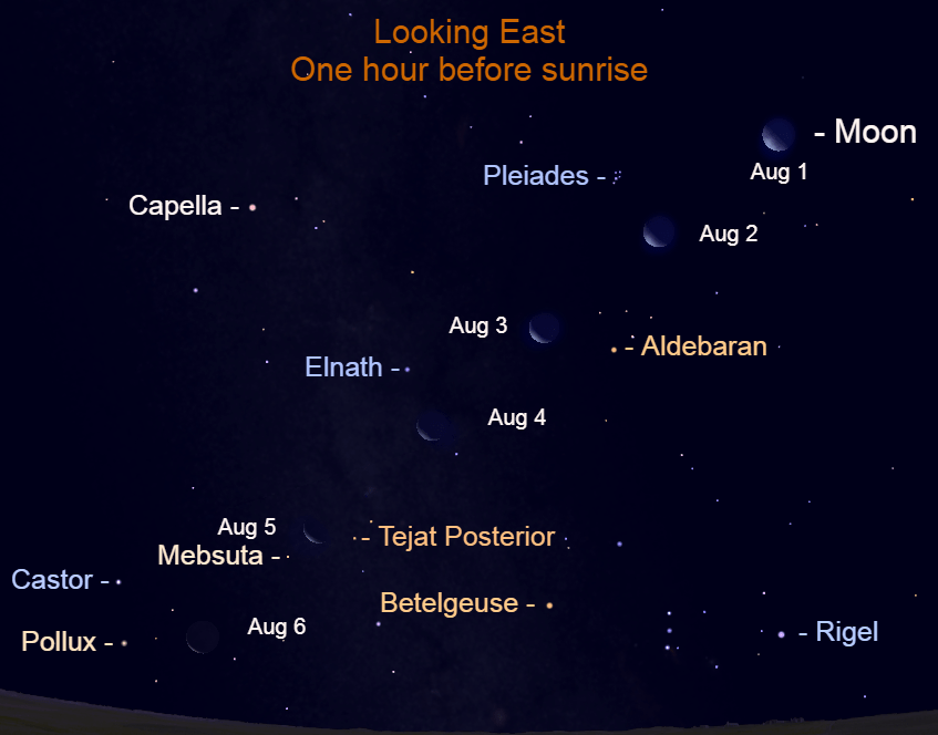 2021, August 1 – 6: The waning moon appears farther eastward each morning as the bright stars make a beautiful backdrop.