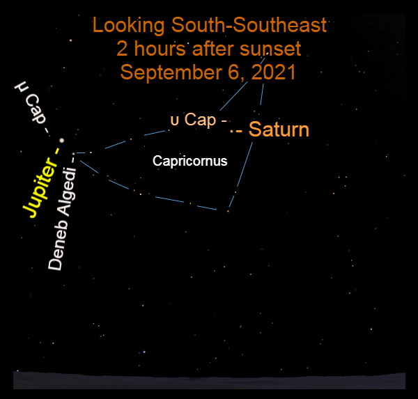2021, September 6: Jupiter and Saturn are in the southeastern sky, retrograding in front of Capricornus.