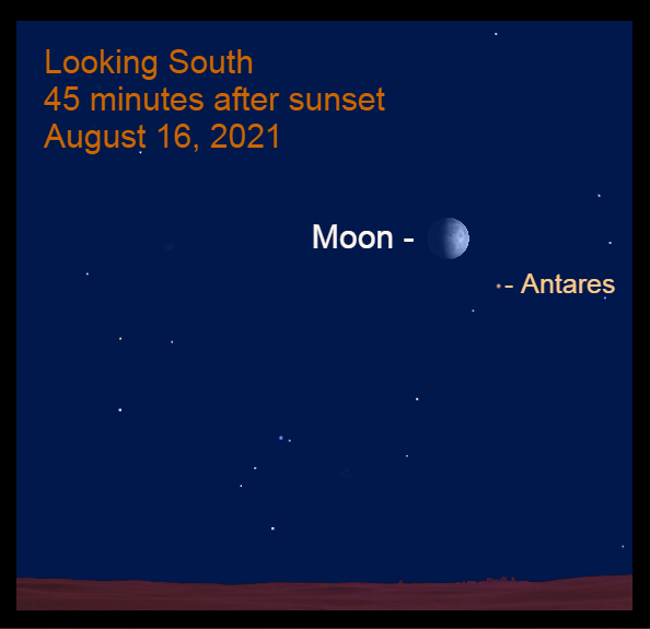 """2021, August 16: The moon is to the upper left of Antares, """"the rival of Mars."""""""