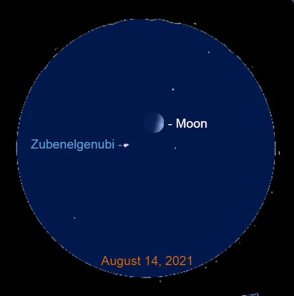 2021, August 14: Use a binocular to spot Zubenelgenubi with the moon. The star is a binary star. The dimmer second star is immediately to the upper right of the brighter primary.