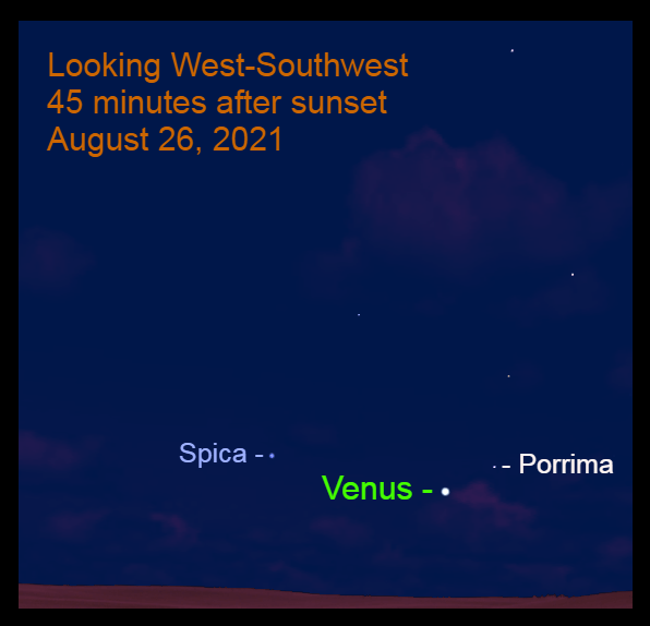 2021, August 26: Venus approaches Spica. The star Porrima is to the upper right of Venus.