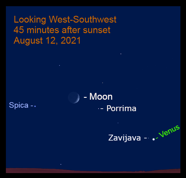 2021, August 12: The crescent moon is 9.0° to the upper right of Spica, while Venus is near Zavijava.
