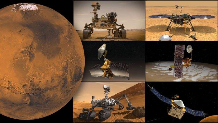 NASA's Mars missions, clockwise from top left: Perseverance rover and Ingenuity Mars Helicopter, InSight lander, Odyssey orbiter, MAVEN orbiter, Curiosity rover, and Mars Reconnaissance Orbiter Credit: NASA/JPL-Caltech