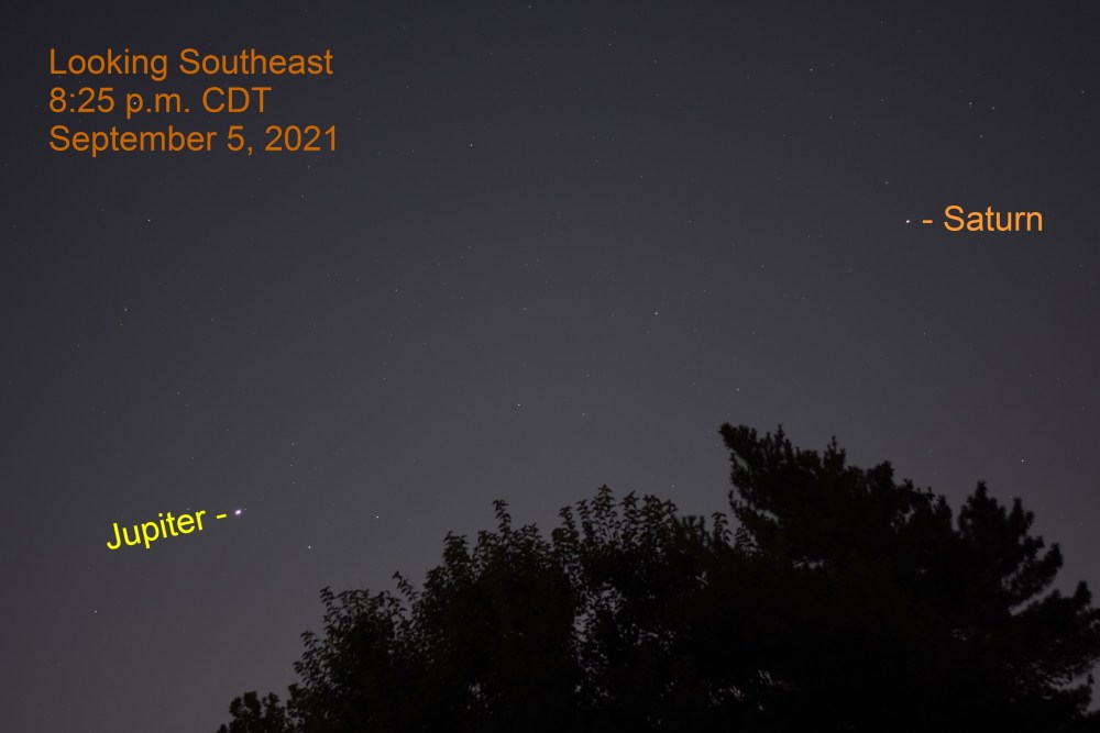 2021, September 5: Jupiter and Saturn in the southeast after sunset.