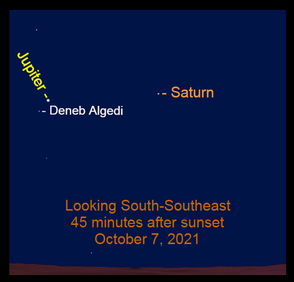 2021, October 7: Forty-five minutes after sunset, bright Jupiter and Saturn are in the southeastern sky.