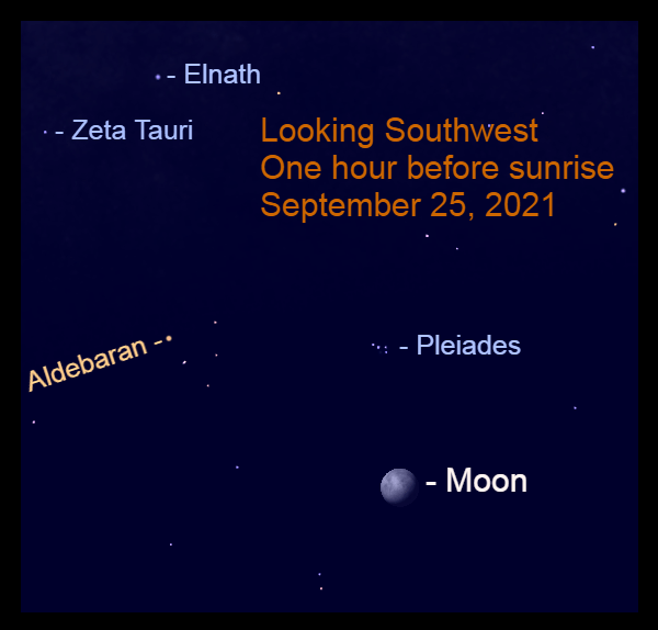 2021, September 25: One hour before sunrise, the moon is to the lower right of Pleiades star cluster and Aldebaran.