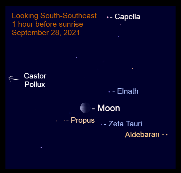 2021, September 28: The moon is high in the south-southeast before sunrise, at the Gemini – Taurus border.