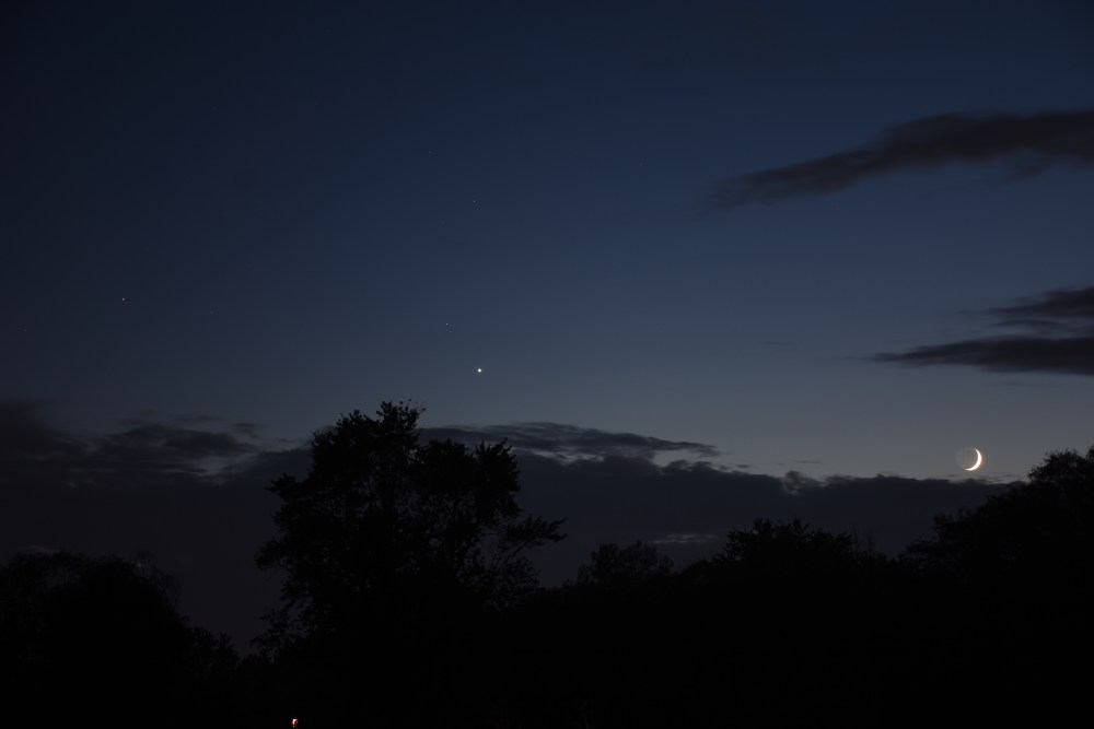 2021, October 8: The crescent moon and Venus with Scorpius.