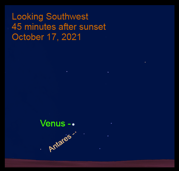 2021, October 17: Venus is 1.8° to the upper left of Antares.