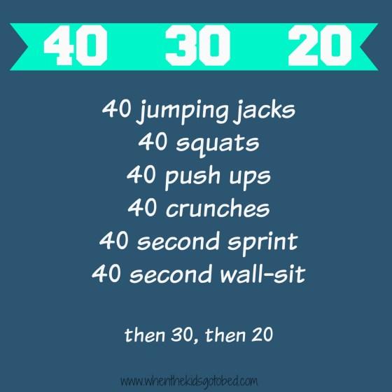 40 30 20 workout