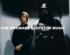 Talk about an awkward ele-vader encounter.
