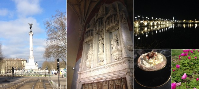 The sun's out: the Monument aux Girondins at Place de Quinconces; exquisite stonework in a side chapel in the Basilique St Michel; a chocolat viennois and early-blooming tulips. Even the Pont St Pierre is light and bright by night.