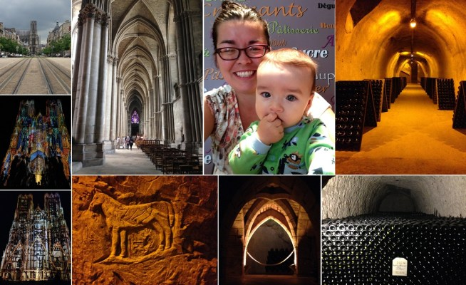 It never Reims, but it pours. Some views of the magnificent cathedral at Reims, my nephew decides he really likes croissants. And the caves at Maison Taittinger house three million bottles of wine as well as old cave artwork.