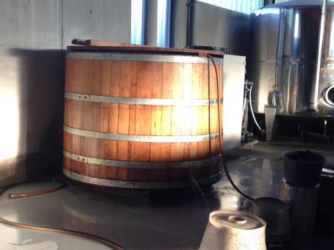 Harvest prep: water pumps into this barrel until it rehydrates and swells up to seal the leaks.