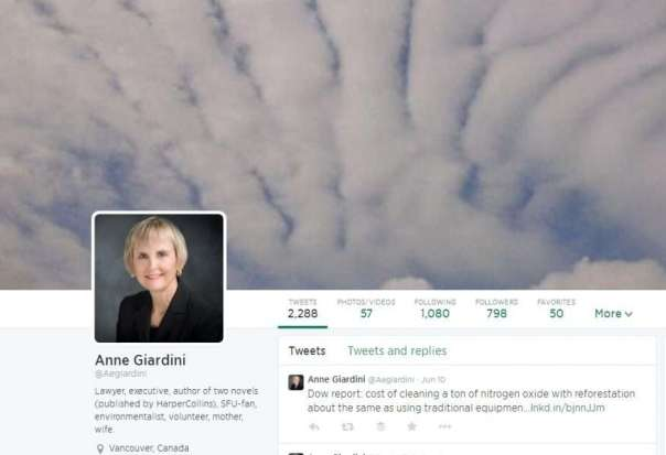 Twitter Profile of Anne Giardini