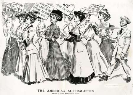 Political cartoon of women