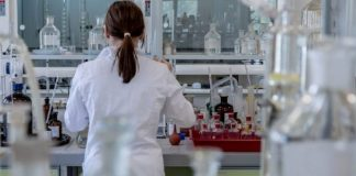 Woman researcher in a lab in the healthcare field