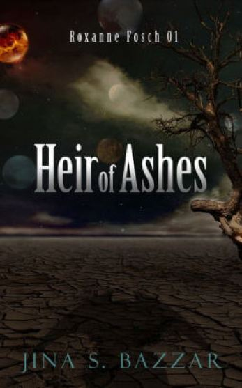 Heir of Ashes book cover, featuring dark sky, orange moon, and creature's shadow
