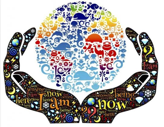 Embracing your true self, symbolized by hands around globe