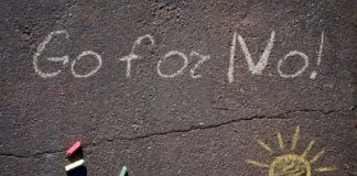 Chalk words Go For No! symbolize courage. Photo from Andrea Waltz.