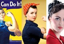 1950s hair is back! Check out these retro hairstyles. A hair tutorial include Rosie the Riveter look.