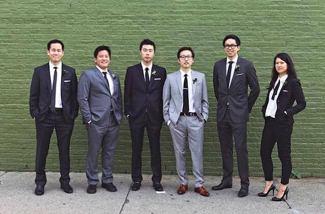 Groomsmaids suits in timeless black and white