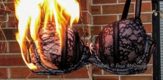 Burn the bra, literally. Black lace bra