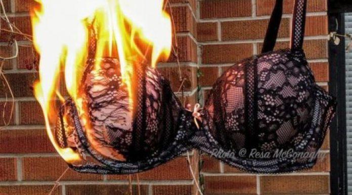 Burn the bra, literally. Black lace bra